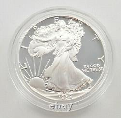 1989 American Silver Eagle Proof 1 Oz. Silver Bullion Velvet Box & COA