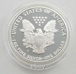 1990 American Silver Eagle Proof 1 Oz. Silver Bullion Velvet Box & COA