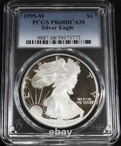 1995-W $1 1 oz Proof American Silver Eagle PCGS PR68DCAM No Hairline Scratches