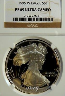 1995 W Proof Silver Eagle, Ngc Pf 69 Ultra Cameo