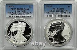 2012 S $1 Silver Eagle 75th Anniversary San Francisco Mint Set PCGS PR70