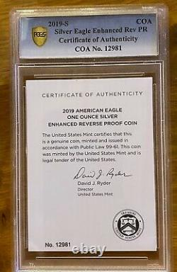 2019 S ENHANCED REVERSE PROOF SILVER EAGLE PCGS PR69 FIRST STRIKE with COA + OGP