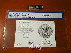 2019 S Enhanced Reverse Proof Silver Eagle Ngc Pf68 Early Releases Coa #16414
