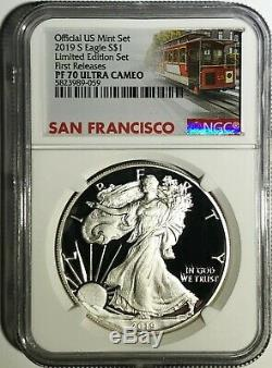 2019 S Proof Silver Eagle Limited Edition Set Ngc Pf70 Fr Ultra Cameo Trolley