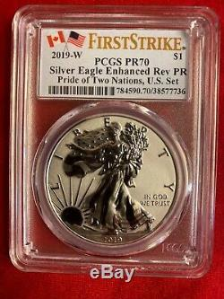 2019 W Enhanced Reverse Proof Silver Eagle PCGS PR70 FS Pride Of Two Nations