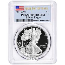 2019-W Proof $1 American Silver Eagle PCGS PR70DCAM FDOI Flag Label