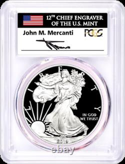 2019-s Proof Silver Eagle-pcgs Pr70-fdoi-mercanti-flag-population Only 116