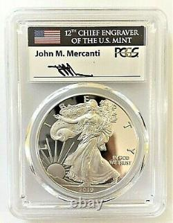 2019-w Proof Silver Eagle-pcgs Pr70-first Day Of Issue-mercanti-flag-pop 300