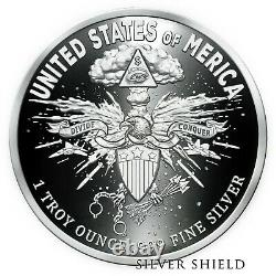 2020 1 OZ Death Eagle Proof Silver Shield. 999 In-Hand Collector Round