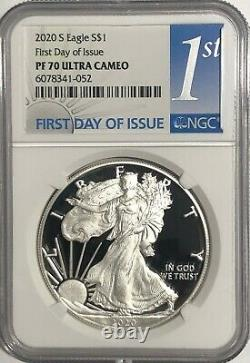 2020 S 1 Oz Ngc Pf70 Ucam First Day Of Issue Proof Silver Eagle 1st Day Label
