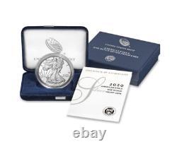2020-S Silver Proof American Eagle 1oz Coin (ogp/coa) PF PR Fine