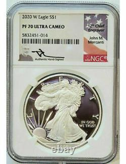 2020 W American Silver Eagle NGC PF70 Ultra Cameo Mercanti Signed