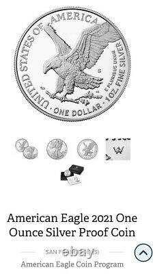 2021 American Eagle (S) Silver Proof Coin-Type 2 (21EMN) CONFIRMED