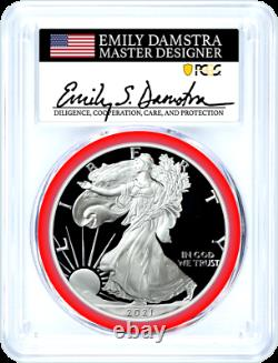 2021 S $1 Proof Silver Eagle Type 2 PCGS PR70 DCAM First Strike Damstra Signed