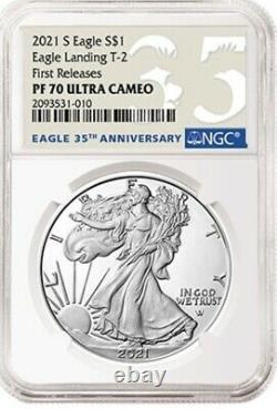 2021 S Proof Silver Eagle Type 2 Eagle Ngc Pf 70 First Releases Presale