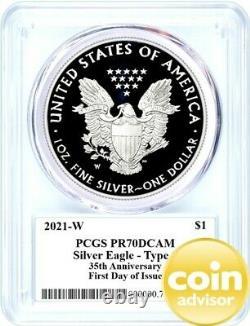 2021 W $1 Proof Silver Eagle 35th Anniversary Type 1 PCGS PR70 FDOI Mercanti