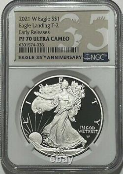2021 W $1 T-2 Ngc Pf70 Early Releases Ultra Cameo Proof Silver Eagle Landing Er