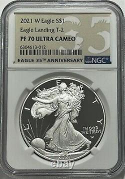 2021 W $1 T-2 Ngc Pf70 Ultra Cameo Proof Silver Eagle Landing Great Eye Appeal