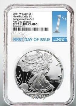 2021 W American Silver Eagle 1oz Congratulations Set NGC PF70 FDOI PRESALE