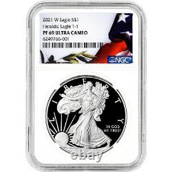 2021 W American Silver Eagle Proof NGC PF69 UCAM Flag Label