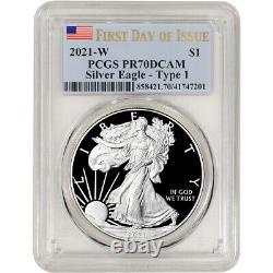 2021 W American Silver Eagle Proof PCGS PR70 DCAM First Day Issue