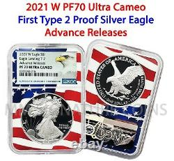 2021 W Proof $1 American Silver Eagle NGC PF70 Advance Releases Type 2 Flag Core