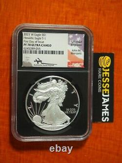 2021 W Proof Silver Eagle Ngc Pf70 John Mercanti Signed First Day Of Issue Black