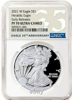 2021 W SILVER AMERICAN EAGLE S$1 HERALDIC TYPE 1 NGC PF70 ER CAMEO 35 years