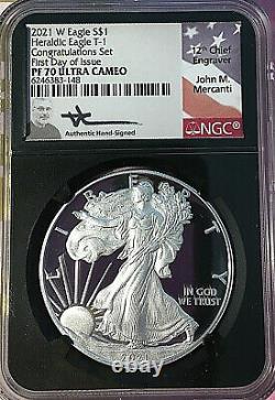 2021 W Silver Eagle T-1 Heraldic Congratulations Set Ngc Pf70 Fdi Mercanti