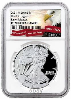 2021 W Silver Proof American Eagle NGC PF70 UC ER Exclusive Eagle Label PRESALE