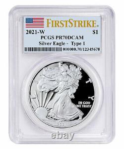 2021 W Silver Proof American Eagle PCGS PR70 DCAM FS Flag Label