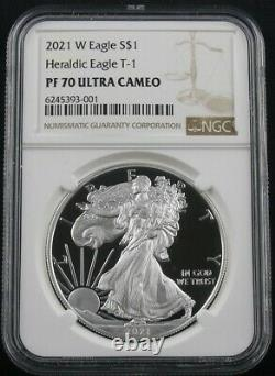 2021-w Proof American Silver Eagle Type 1 Ngc Pf70