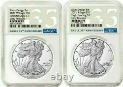 American Eagle 2021 Silver Reverse Proof Designer Edition 2 Coins NGC PF69