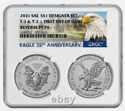 DUAL! 2021 Reverse Proof American Silver Eagle Designer 2 Set NGC PF70 FDOI FDI