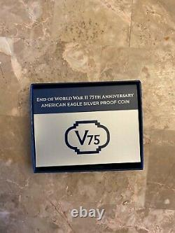 End of WW2 V75th Anniversary American Eagle Silver Proof Coin UNOPENED / SEALED
