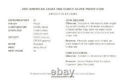 HERALDIC EAGLE (TYPE 1)! 2021-W American Eagle SILVER PROOF Coin (21EA)