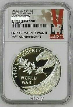 NGC PF70 2020 P End of World War 2 II 75th Anniversary 1oz Silver Medal Eagle