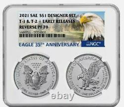 NGC PF70UC FR American Eagle 2021 1 oz Silver Reverse Proof 2 Coin Designer Set