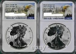 Presale 2021 2 Coin $1 Designer Reverse Proof Silver Eagle Ngc Pf70 Fr Set