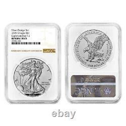 Presale 2021 Reverse Proof American Silver Eagle Designer 2pc Set NGC PF69 Bro