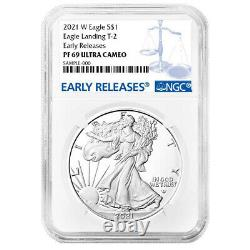 Presale 2021-W Proof $1 Type 2 American Silver Eagle NGC PF69UC Blue ER Label