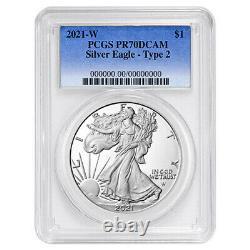 Presale 2021-W Proof $1 Type 2 American Silver Eagle PCGS PR70DCAM Blue Label