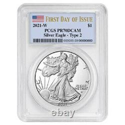 Presale 2021-W Proof $1 Type 2 American Silver Eagle PCGS PR70DCAM FDOI Flag L