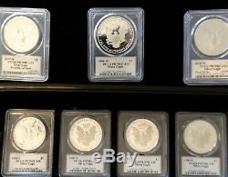 Silver Eagles Date/Run signed by Mercanti, PF70DCAM, 1986-2020 &1995w