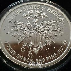 1 Oz. 999 Silver Shield Proof Death Eagle Mort Du Dollar Donald Trump Ase