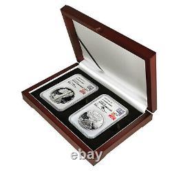 1986 - 2020 Silver Eagle Ngc Pf70 2-coin Set John Mercanti Signé Avec Acajou