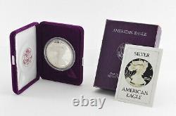 1986 American Silver Eagle Proof 1 Oz Silver Bullion Velvet Box & Coa 982