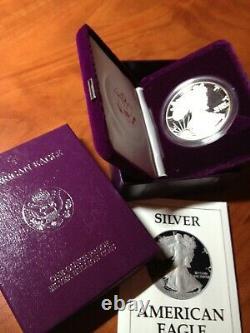 1986 Proof American Silver Eagle Coin Box & Coa Deep Cameo Fresh