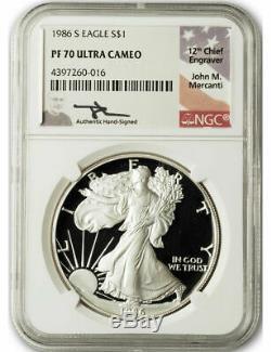 1986 S 1 $ Proof Silver Eagle Ngc Pf70 Ultra Cameo John Mercanti Signé
