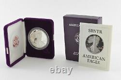 1987 American Silver Eagle Proof 1 Oz Silver Bullion Velvet Box & Coa